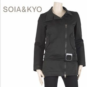 Soia & Kyo Short Belted Trench Coat - Grey